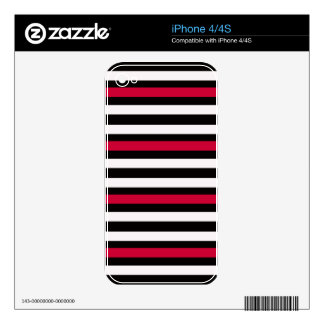 Modern Horizontal BW Red Skins For The iPhone 4S