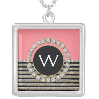 Modern Horizontal Stripe Glitter Look Bling Mod Silver Plated Necklace