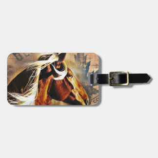 modern horse western country barn wood tag for luggage