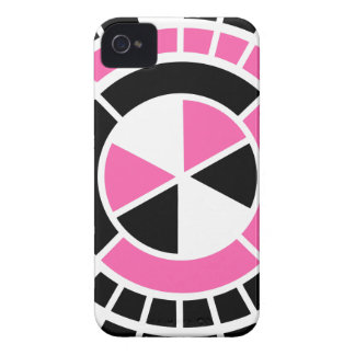 Modern Hot Pink Black White color circle design iPhone 4 Cover
