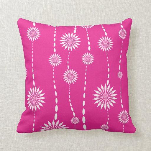 Modern Hot Pink Floral Decorative Throw Pillow Zazzle