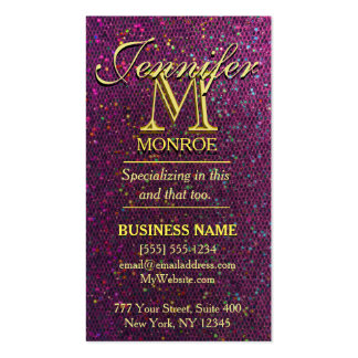 Modern Hot Pink Glitter Double-Sided Standard Business Cards (Pack Of 100)