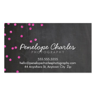 MODERN hot pink glitter confetti dots chalkboard Double-Sided Standard Business Cards (Pack Of 100)