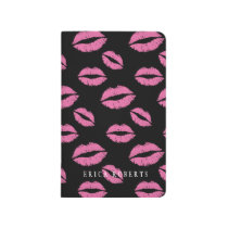 Modern Hot Pink Lips Kiss Pattern with Name Journal