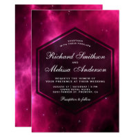 Modern Hot Pink Space Galaxy Wedding Invitation