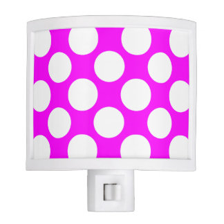 Modern Hot Pink White Polka Dots Pattern Nite Lites