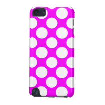 Modern Hot Pink White Polka Dots Pattern iPod Touch 5G Cover