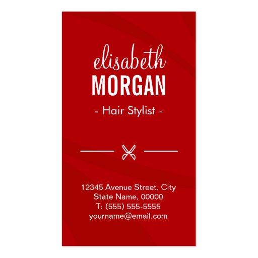 Modern Hot Red Hair Salon Scissors Beauty Monogram Business Cards (back side)