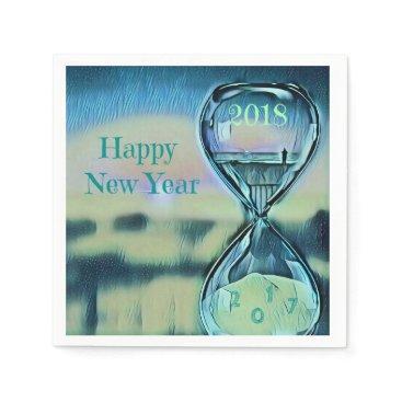 Beach Themed Modern Hourglass Happy New Year 2018 Paper Napkin