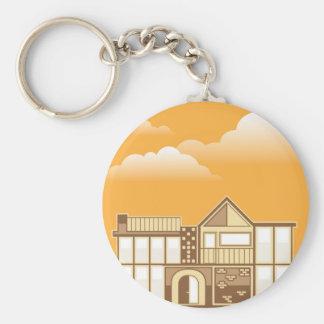Modern house vector simplistic keychain