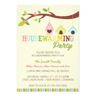 Modern Housewarming Bird Houses Custom Invitation
