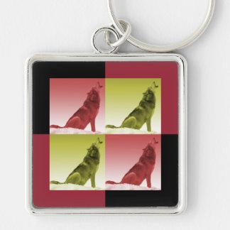 Modern Howling Wolf Pop Art Squares Keychain