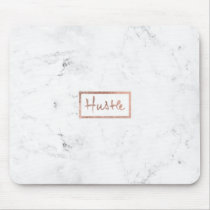 Modern hustle typography rose gold white marble mouse pad