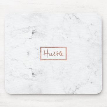 girly_trend Modern hustle typography rose gold white marble mouse pad