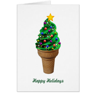Modern Ice Cream Christmas Tree Greetings Card