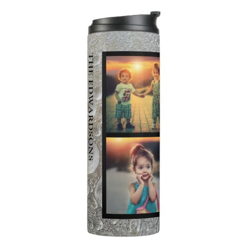 Modern ice pattern family photo collage name thermal tumbler
