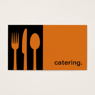 Modern Icon Silhouette - catering  | black/orange Business Card