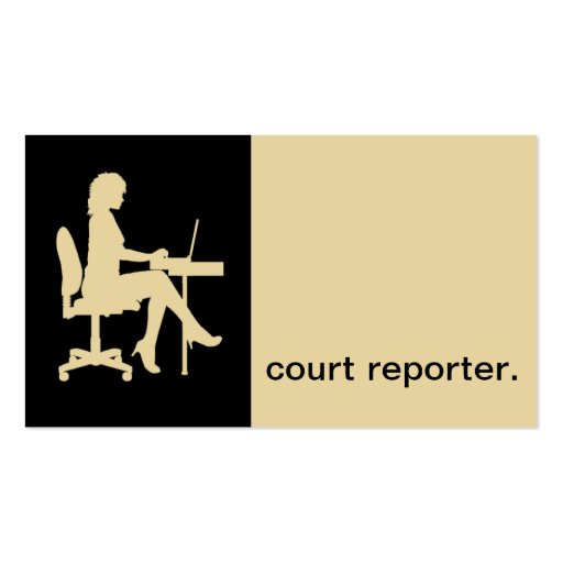 Modern Icon Silhouette court reporter | eggshell Business Card