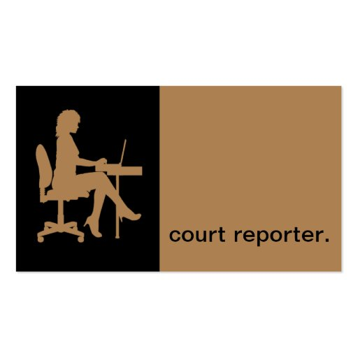 Modern Icon Silhouette court reporter   tan Business Card Templates