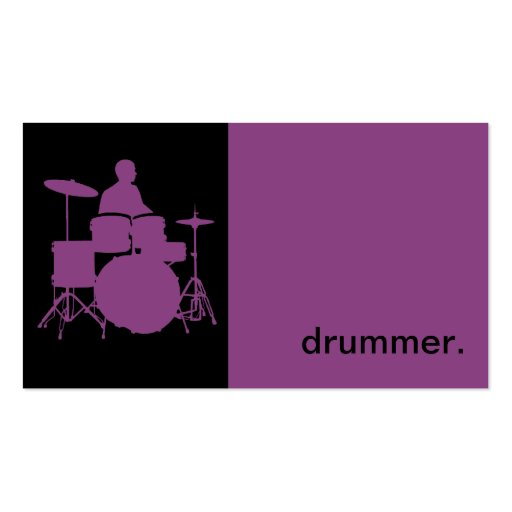 Modern icon silhouette drummer purple black business for Drummer business cards