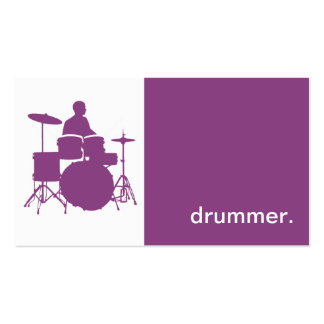 Modern Icon Silhouette Drummer - purple Business Card