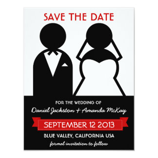 Modern Icons Save the Date in Black White Red 4.25x5.5 Paper Invitation Card
