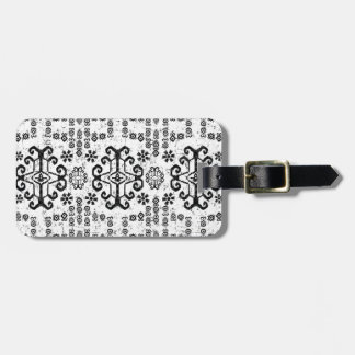 MODERN IKAT BOHO BLACK AND WHITE PATTERN LUGGAGE TAG