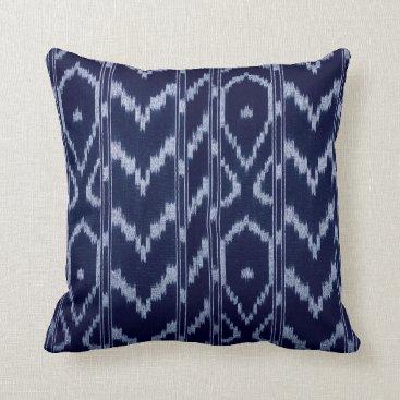 Aztec Themed Modern Ikat Tribal Chevron | navy baby blue Throw Pillow