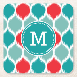 Modern Ikat Weave Turquoise Square Paper Coaster