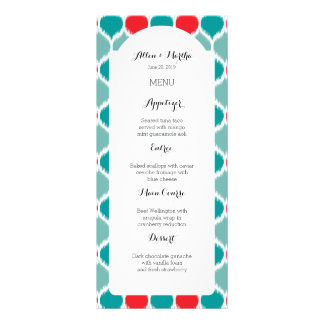 Modern Ikat Weave Turquoise Wedding Menu