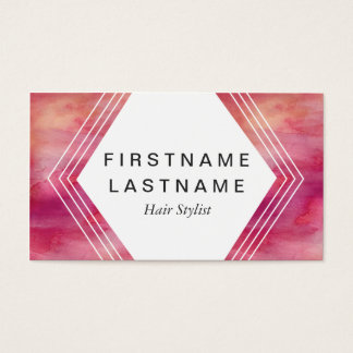 Modern Impact Pink Water Color Business Card