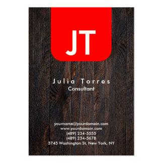 Modern Indestructible Wood Red Monogram Large Business Card