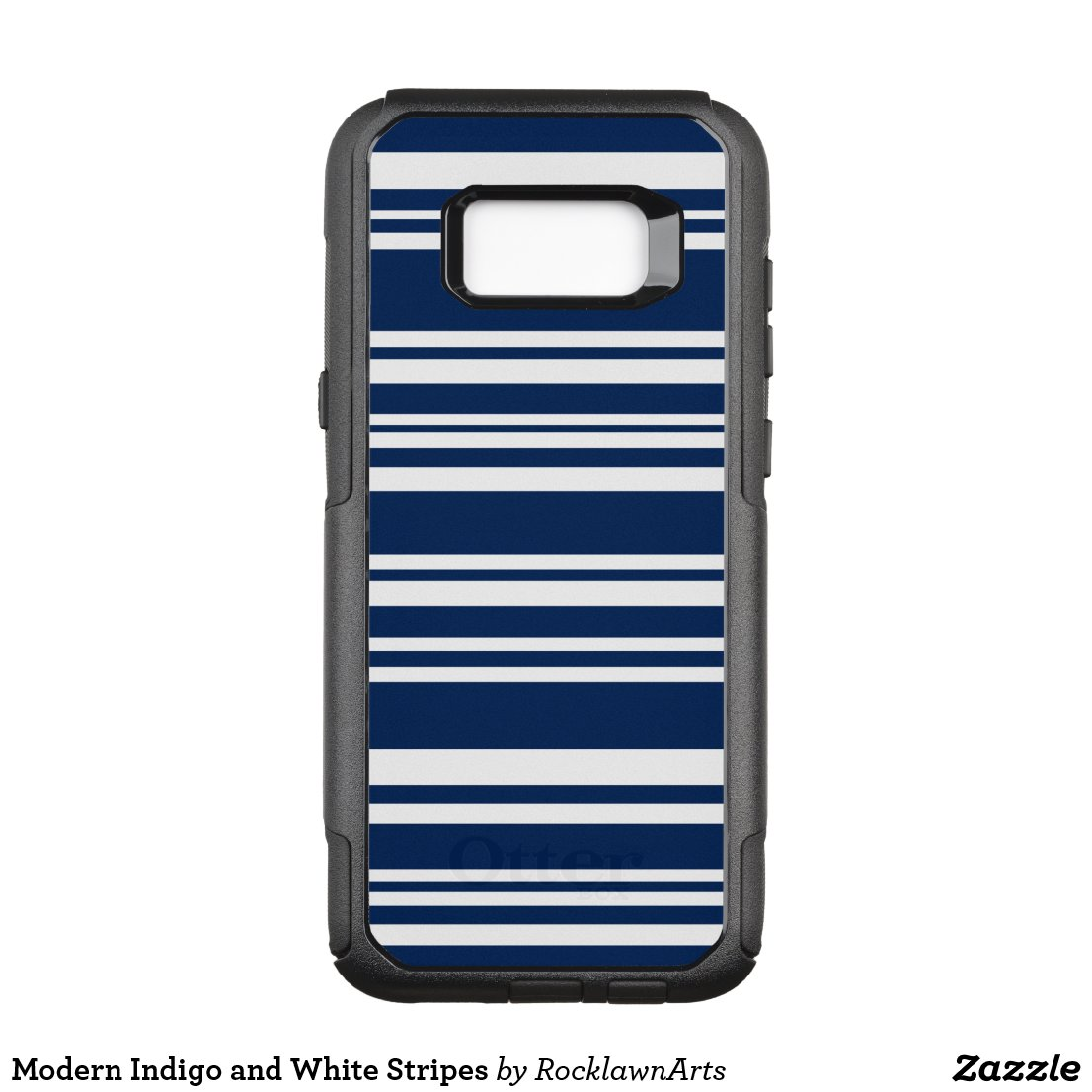 Modern Indigo and White Stripes OtterBox Commuter Samsung Galaxy S8+ Case