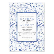 Modern indigo blue leaves pattern wedding invitation