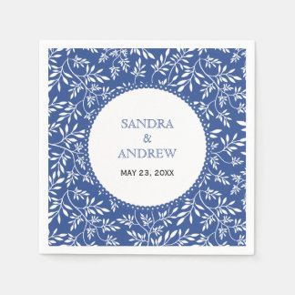 Modern indigo blue white leaves pattern wedding paper napkin