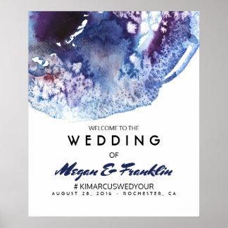 Modern Indigo Watercolor Wedding Welcome Sign