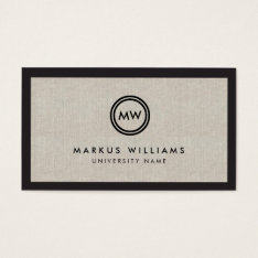 Modern Initials Black And Linen Graduate Student Business Card at Zazzle