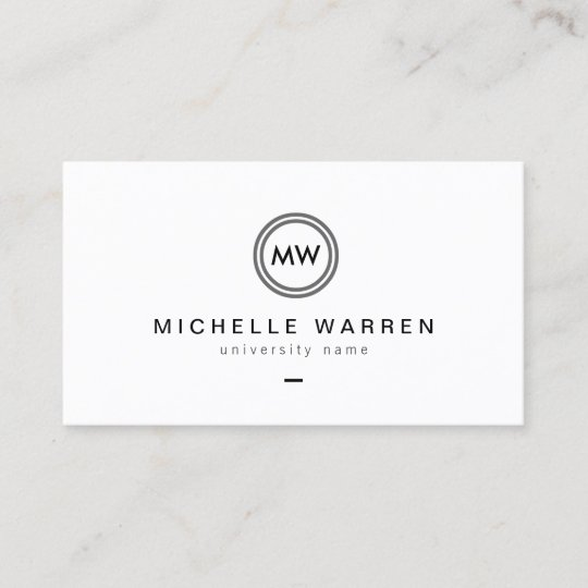 modern initials i graduate student business card - Student Business Card