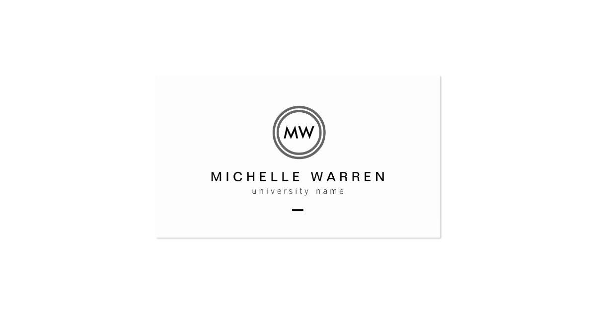 Modern Initials I Graduate Student Business Card