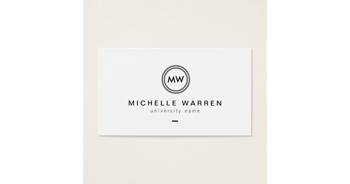 Modern Initials I Graduate Student Business Card   Zazzle.com
