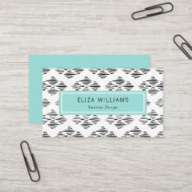Modern Inkstroke Pattern - Turquoise Black White Business Card