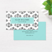 Modern Inkstroke Pattern - Turquoise Black White Business Card