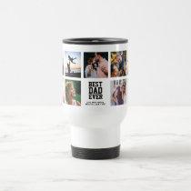 Modern Instagram BEST DAD EVER Photo Collage Travel Mug