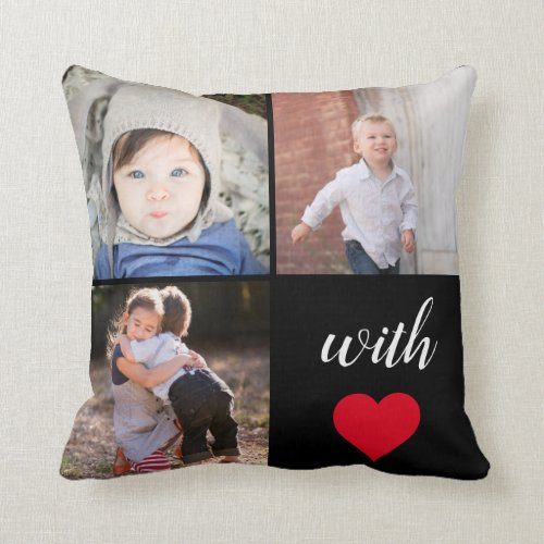 Modern Instagram Photo Collage  With Love Throw Pillow