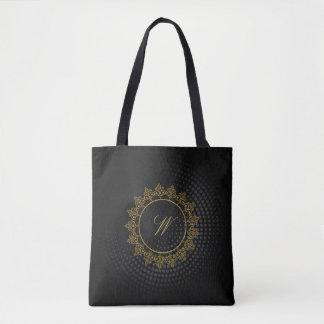 Modern Intricate Monogram on Black Circular Tote Bag