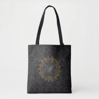 Modern Intricate Monogram on Black Damask Tote Bag