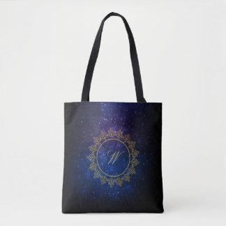 Modern Intricate Monogram on Blue Galaxy Tote Bag