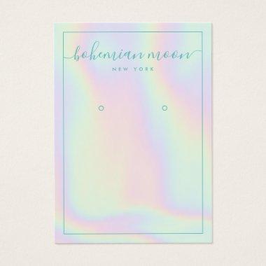 Modern iridescent gradient script earring display