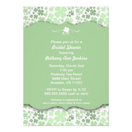 Modern Irish Bridal Shower Invite with clovers
