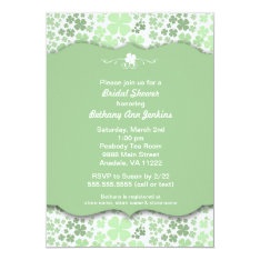 Modern Irish Bridal Shower Invite With Clovers at Zazzle